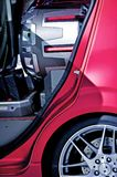 Insane Subwoofer. Inside Compact Car - Closeup Photo. Car Audio Technology Photo Collection Royalty Free Stock Image