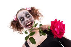 Insane woman with a red rose. In front of white Stock Photo