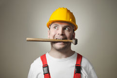 Insane young worker Stock Photography