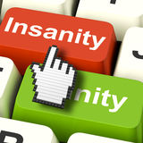 Insanity Sanity Keys Shows Sane And Insane Psychology Stock Photo