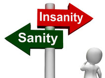 Insanity Sanity Signpost Shows Sane Or Insane Royalty Free Stock Photography