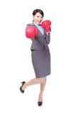 Inscatolamento della donna di affari, perforante Fotografia Stock