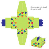 Inscatoli il modello con la maniglia, con le bande e la frutta verdi illustrazione vettoriale