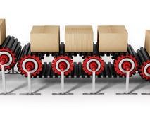 Inscatoli le scatole sul nastro trasportatore isolato su fondo bianco illustrazione 3D Fotografia Stock Libera da Diritti