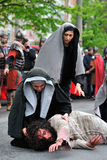 Inscenizacja Jezusowa droga na halnym Calavary Zdjęcia Royalty Free