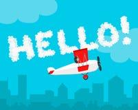 Inschrijving de hemel Hello! het vlakke vectorontwerp van de wolkenbrief De illustratie van het vliegtuig Stock Foto's