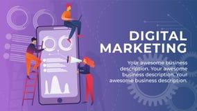 Inschrijving Digitaal Marketing Bannerbeeldverhaal royalty-vrije illustratie