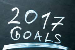 Inschrijving 2017 doelstellingen het lijst met krijt op dark van het schoolbord dat wordt getrokken Stock Foto's