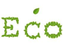 Inschrijving ECO van groene bladeren met blad op wit Stock Fotografie