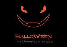 Inschrijving Halloween en eng gezicht Royalty-vrije Stock Afbeeldingen