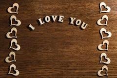 Inschrijving I Liefde u op houten achtergrond Royalty-vrije Stock Foto