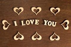 Inschrijving I Liefde u op houten achtergrond Royalty-vrije Stock Fotografie