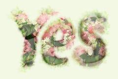 Inschrijving: JA, van bloem vector illustratie