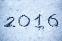 Inschrijving op de sneeuw 2016 Stock Foto