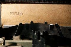 Inschrijving op een schrijfmachine Stock Afbeelding