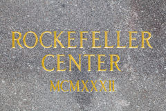 Inschrijving van het Rockefellercentrum, de redactie Stock Afbeeldingen