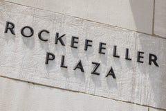 Inschrijving van het Rockefellerplein, de redactie Stock Foto