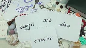 Inschrijvingenontwerp, kunst, idee stock footage