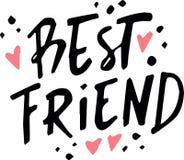 Inschrijvings beste vriend met hart stock illustratie