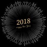 Inschrijvings Gelukkig Nieuwjaar 2018 met rond vuurwerk Stock Foto