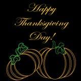 Inschrijvings Gelukkig Thanksgiving day op een zwarte achtergrond Royalty-vrije Stock Afbeelding