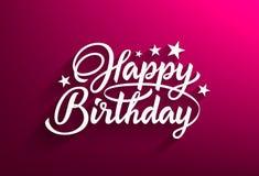 Inschrijvings gelukkige verjaardag die een schaduw op een roze achtergrond gieten royalty-vrije illustratie