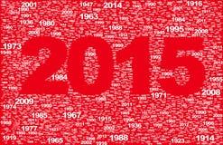 Inschrijvings 2015 tsirf uit verschillende jaren wordt bijeengezocht dat Stock Foto's