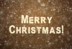 Inschrijvings Vrolijke Kerstmis van sneeuwvlokken Royalty-vrije Stock Foto's