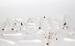 Inschrijvingsdood door sigaretten Stock Foto's