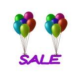Inschrijvingsverkoop die op ballons vliegen Stock Illustratie