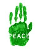 Inschrijvingsvrede op de waterverf handprint Stock Foto