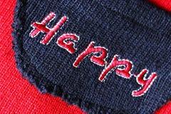 A inscrição é bordada com linhas A palavra feliz foto de stock royalty free