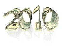 A inscrição 2010 fêz das notas de banco. Isolado Fotos de Stock