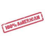Inscrição americana de 100 por cento no quadro vermelho Carimbo de borracha do americano de cem por cento ilustração royalty free