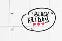 Inscrição Black Friday no calendário 2018, fundo branco foto de stock