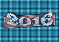 A inscrição 2016 compôs dos blocos de 3D no fundo em uma gaiola Imagens de Stock