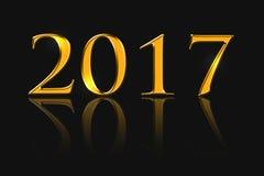A inscrição 2017, cor dourada Fotografia de Stock Royalty Free