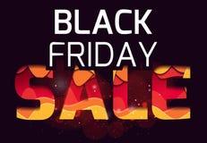 inscrição 3d da venda preta de sexta-feira, feita das camadas de papel Multi ilustração nivelada Fotos de Stock Royalty Free