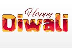 inscrição 3d do festival Diwali, feita das camadas de papel Diwali feliz ilustração do vetor