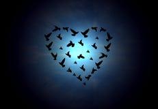 a inscrição da forma do coração com pássaros Fotos de Stock Royalty Free