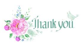 Inscrição da gratitude com peônia Fotografia de Stock Royalty Free
