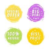 Inscrição da oferta especial no ponto pintado amarelo Foto de Stock