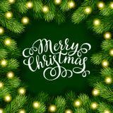 A inscrição da rotulação da mão do Feliz Natal com quadro do abeto ramifica Imagem de Stock