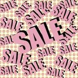 Inscrição da venda no fundo com presentes envolvidos Teste padrão collage Cartaz, convite, etiqueta, inseto com cores pastel Fotografia de Stock Royalty Free