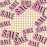 Inscrição da venda no fundo com presentes envolvidos Teste padrão collage Cartaz, convite, etiqueta, inseto com cores pastel Fotografia de Stock