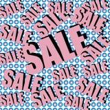 Inscrição da venda no fundo com presentes envolvidos Teste padrão collage Cartaz, convite, etiqueta, inseto com cores pastel Fotos de Stock