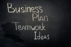 Inscrição das ideias do plano de negócios e dos trabalhos de equipe imagem de stock