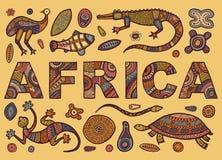 A inscrição de ÁFRICA no estilo étnico e esboços de animais africanos Imagem de Stock Royalty Free