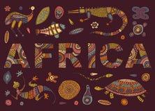 A inscrição de ÁFRICA no estilo étnico e esboços de animais africanos Imagens de Stock