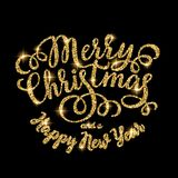Inscrição de brilho da rotulação da mão do ouro do Feliz Natal Imagem de Stock Royalty Free